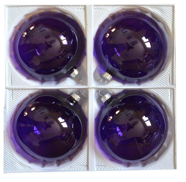 Bombki przezroczyste 12 cm 4 szt fioletowe