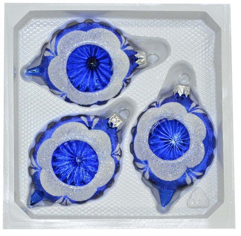 bombka szklana cytryna 3 szt niebieski błysk