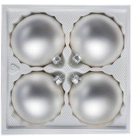 Bombki gładkie 10 cm 4 szt. biały/srebrny mat