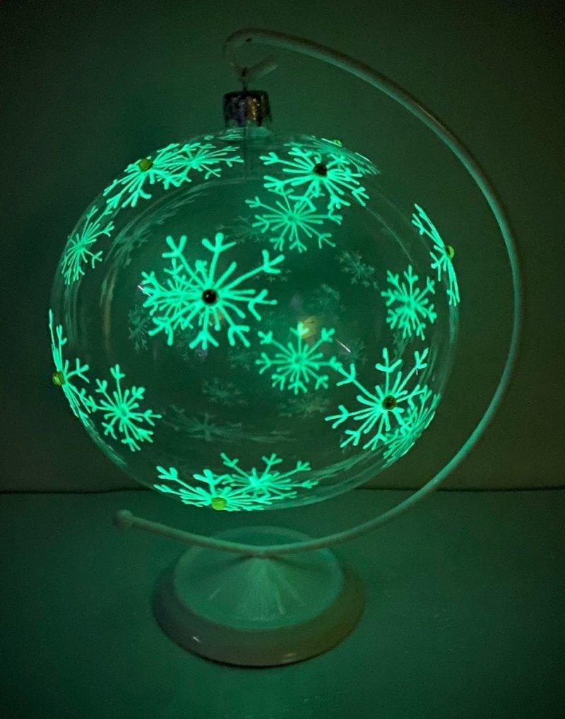 Bombka 15 cm śnieżynki fluorescencyjne