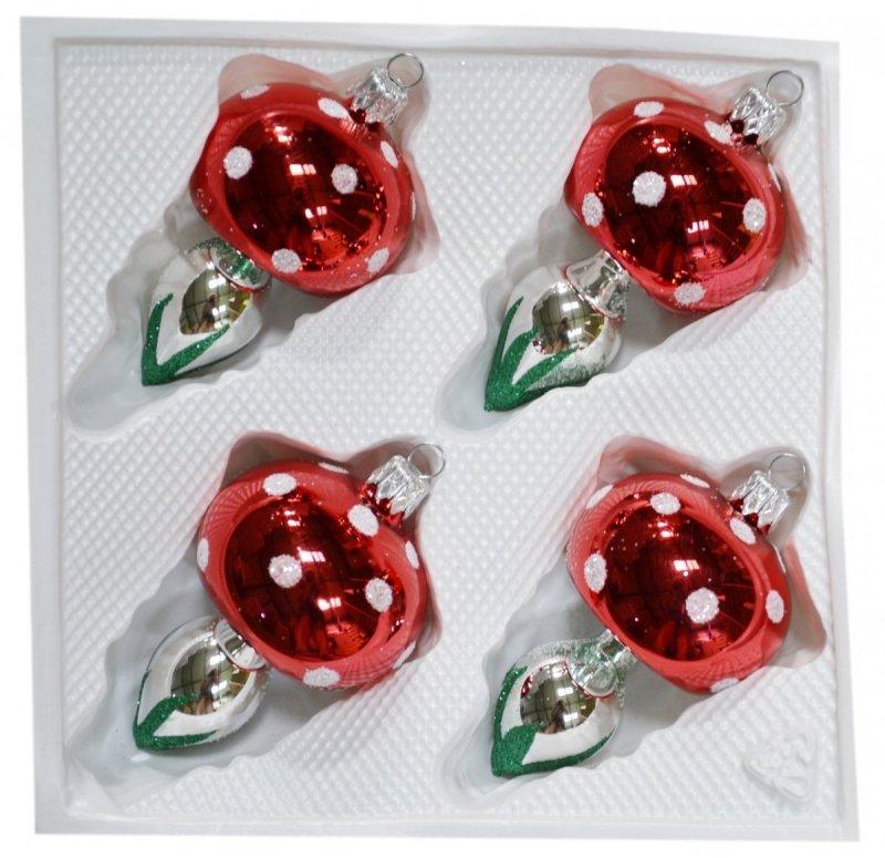 Grzybki szklane 4 szt czerwone
