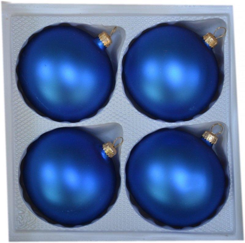 Bombki gładkie 8cm 4szt  niebieski mat
