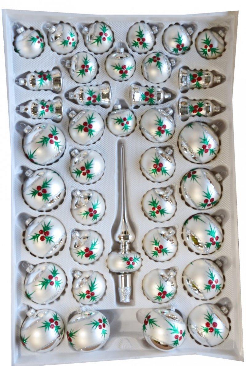 Zestaw dekorowany 39 szt biało-srebrny
