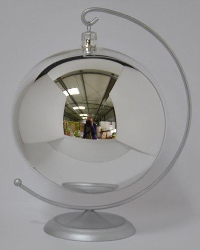 Bombka gładka 12 cm srebrny błysk
