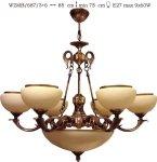 Żyrandol mosiężny JBT Stylowe Lampy WZMB/687/3+6