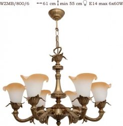 Żyrandol mosiężny JBT Stylowe Lampy WZMB/800/6