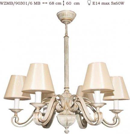 Żyrandol mosiężny JBT Stylowe Lampy WZMB/90301/6MB