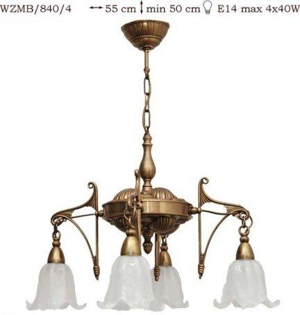 Żyrandol mosiężny JBT Stylowe Lampy WZMB/840/4