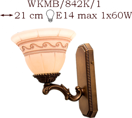 Kinkiet mosiężny JBT Stylowe Lampy WKMB/842K/1