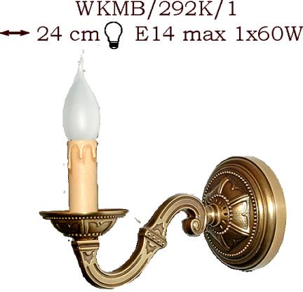 Kinkiet mosiężny JBT Stylowe Lampy WKMB/292K/1