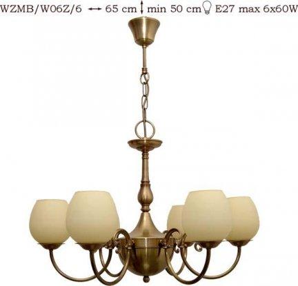 Żyrandol mosiężny JBT Stylowe Lampy WZMB/W06Z/6