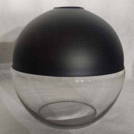Klosz szklany czarny kula otwarta 20cm E27