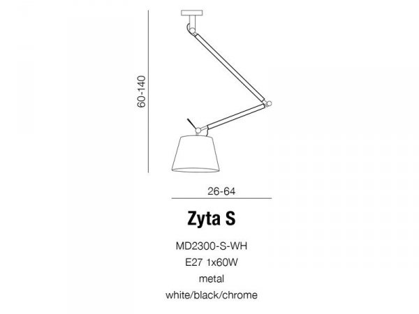 Lampa sufitowa ZYTA S WHITE PENDANT MD2300-S PEN WH