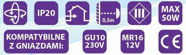 Oprawa halogenowa sufitowa ONYKS kwadrat ruchoma BS Chrom połysk LUX01278