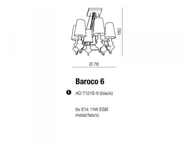 Żyrandol Baroco Black AZzardo AD7121S-6 BL
