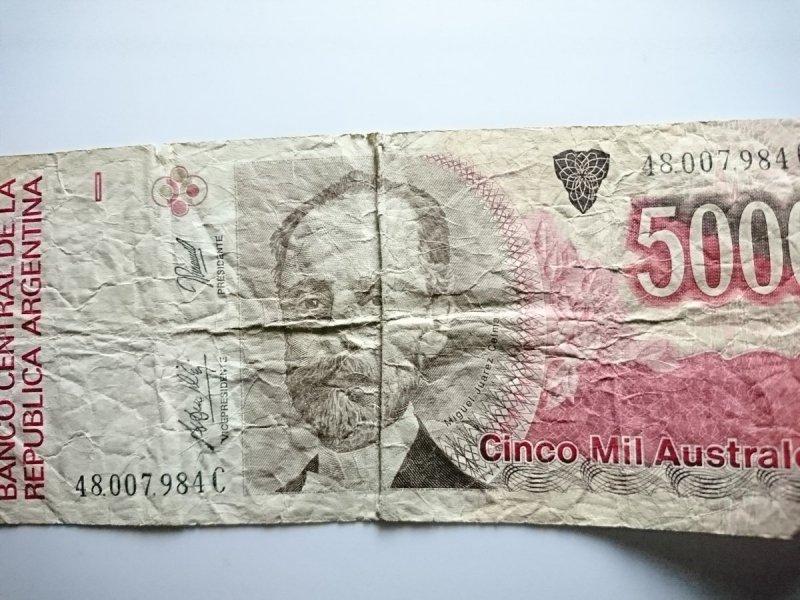 BANKNOT 5000 CINCO MIL AUSTRALES. ARGENTINA