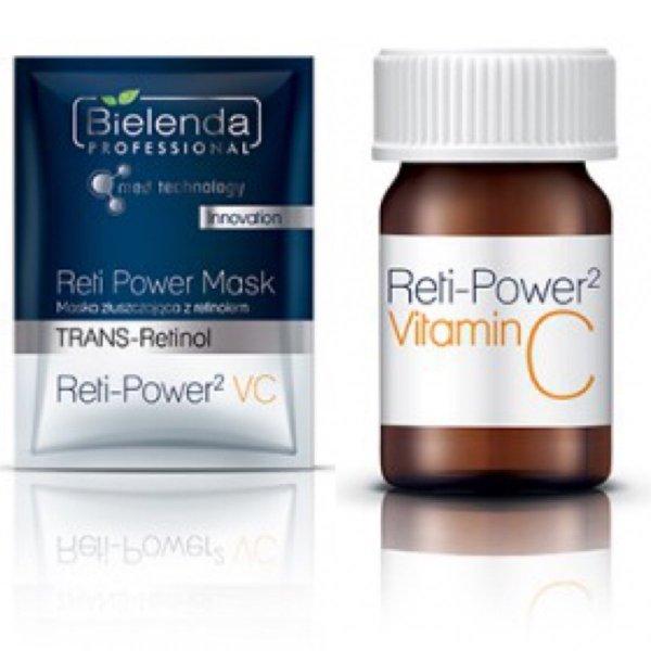Bielenda - Reti-Power 2 VC - set 5 zabiegów - ampułka ze stabilną witaminą C + maska złuszczająca z retinolem