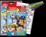 Psi Patrol Dobrana paczka Złap i koloruj Ruszamy na misję! (24 kolorowanki + 24 naklejki + 4 kredki)