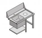 Stół załadowczy do zmywarki z komorą zlewozmywaka i otworem na odpadki COOKPRO 450020002 450020002