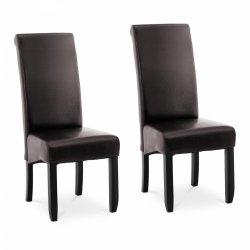 Krzesło tapicerowane - brązowe - ekoskóra - 2 szt. FROMM & STARCK 10260166 STAR_CON_51