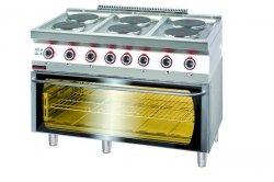Kuchnia elektryczna z piekarnikiem elektrycznym moduł  3xGN 1/1 1200x700x900 mm KROMET 700.KE-6/PE-3* 700.KE-6/PE-3*