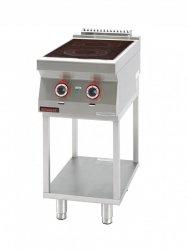 Kuchnia elektryczna ceramiczna 2 pola 1x2,1kW + 1x2,0kW na podstawie szkieletowej  KROMET 700.KE-2C.T LINIA 700