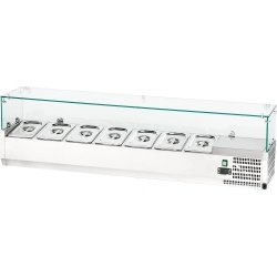 Witryna chłodnicza nastawna 7xGN 1/4 1600x335x435 mm z szybą STALGAST 844741 844741