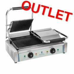 OUTLET | Grill kontaktowy - 2 x 1800 W - ryflowany ROYAL CATERING 10010246 RCKG-3600-G