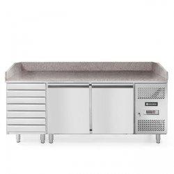 Stół chłodniczy do pizzy 2-drzwiowy z 7 szufladami, z blatem granitowym HENDI 232842 232842