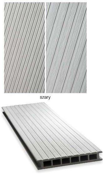 Deska tarasowa GAMRAT - kompozytowa ryflowana 25x160x2400mm jasny szary Wersja L
