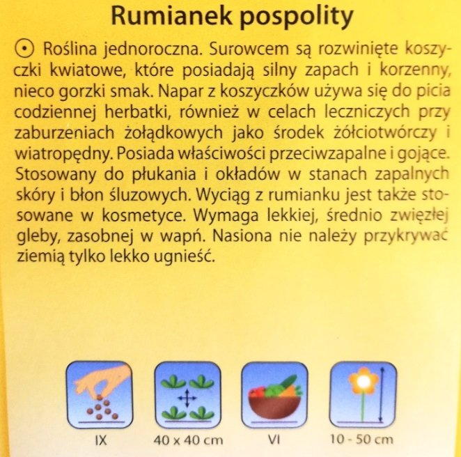 RUMIANEK pospolity lekarski nasiona 0,2 g PLANTICO