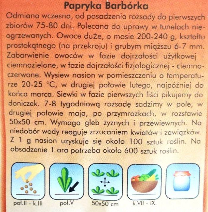 Papryka Barbórka nasiona Plantico