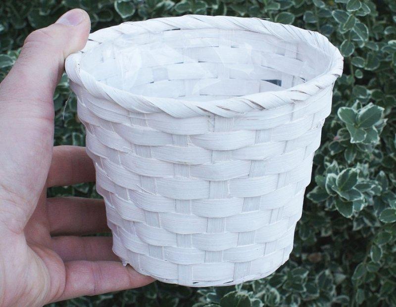 Doniczka bambusowa biała przecierana