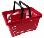 Koszyk na zakupy 22 L. Czerwony 43 cm x 30 cm x 23 cm z 2 rączkami