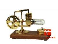 Silnik Stirling'a pokryty 24 karatowym złotem