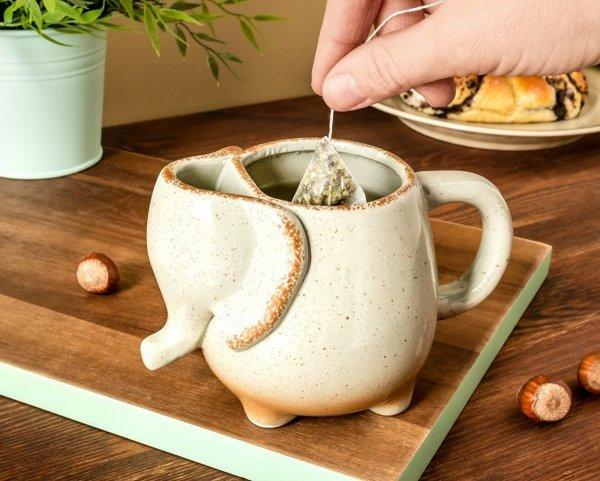 Ceramiczny kubek słonik szary 500 ml