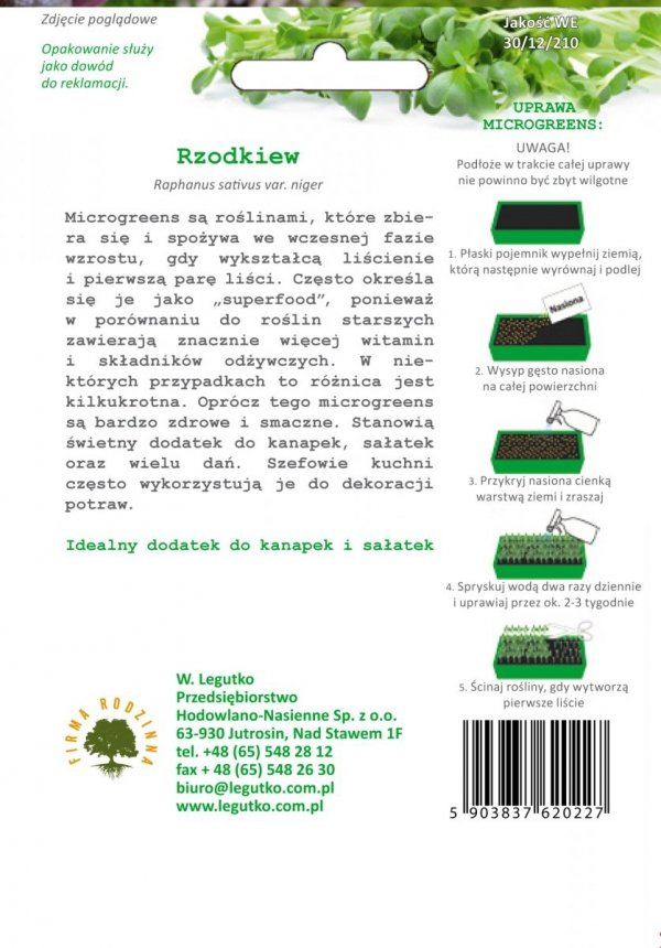 Microgreens Rzodkiew uprawa