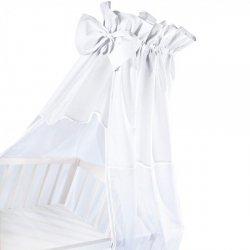 moskitiera na łóżeczko / baldachim UNIWERSALNY Z KOKARDKĄ woal + bawełna  BIAŁY Klupś
