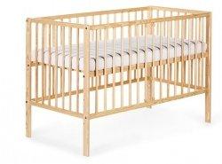 Łóżeczko drewniane RADEK X 120/60 SOSNA  wyciągana szczebelki - 3 poziomy wysokości KLUPŚ