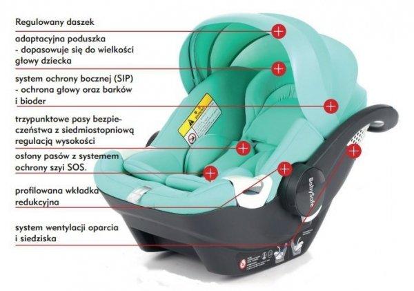 fotelik samochodowy  YORK + baza Isofix  Babysafe 0-13 Kg (40-80cm )