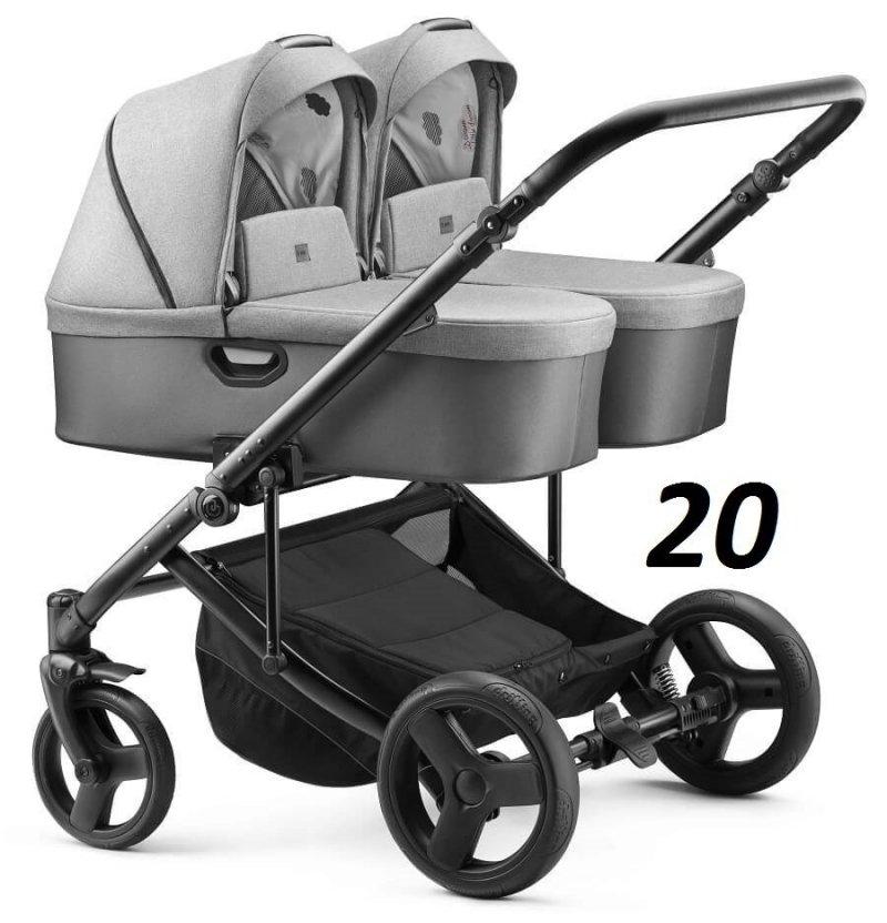 2020 wózek bliżniaczy DUO JEDO  (2 gondole+2 spacerówki) JEDO