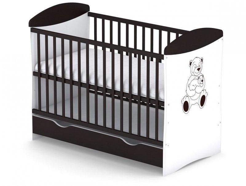 łóżeczko PANDA 120/60 cm kolor WENGE + szuflada