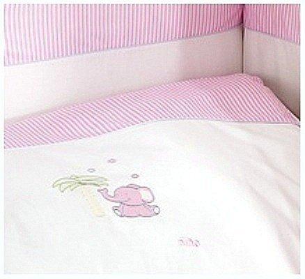 pościel 3 plus  ELEFANTE PINK NINO ( ochraniacz, poszewki na kołdrę i poduszkę)