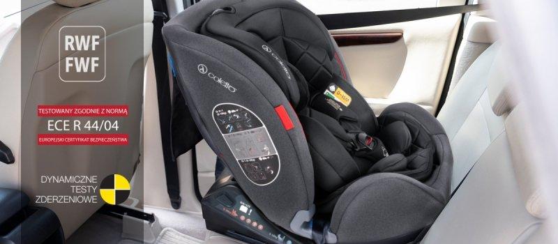 fotelik samochodowy CASCADE ISOFIX + pas Top tether 0-36 kg , RWT 0-18 kg tyłem  COLETTO