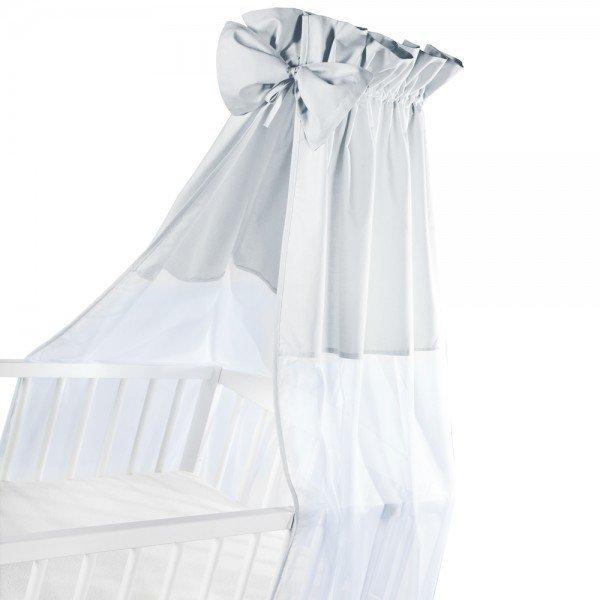 moskitiera na łóżeczko / baldachim UNIWERSALNY Z KOKARDKĄ woal + bawełna POPIEL Klupś