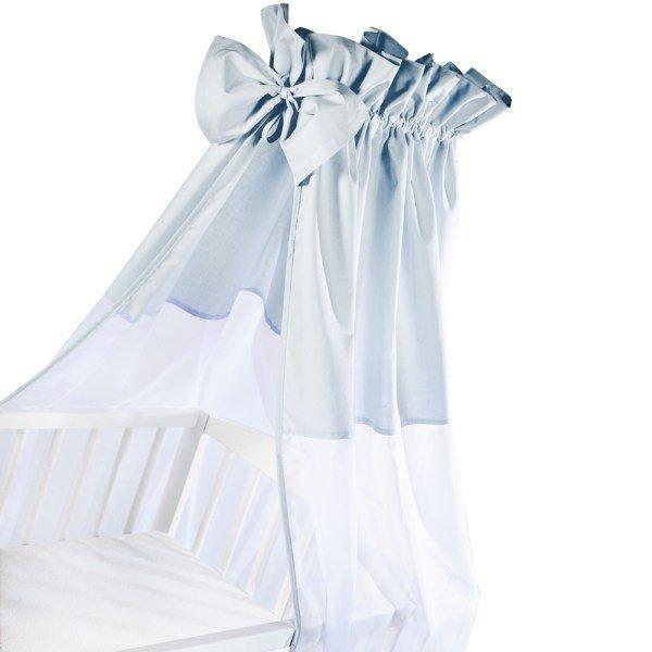 moskitiera na łóżeczko / baldachim UNIWERSALNY Z KOKARDKĄ woal + bawełna NIEBIESKI Klupś