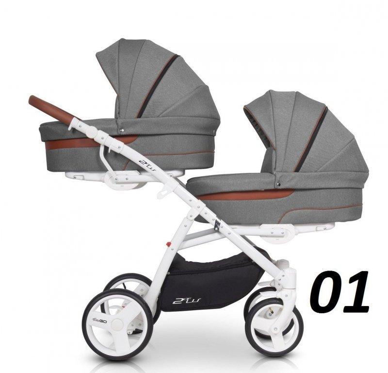 wózek bliżniaczy 2 OF US 2w1  ( 2 gondole+ 2 spacerówki) Easygo