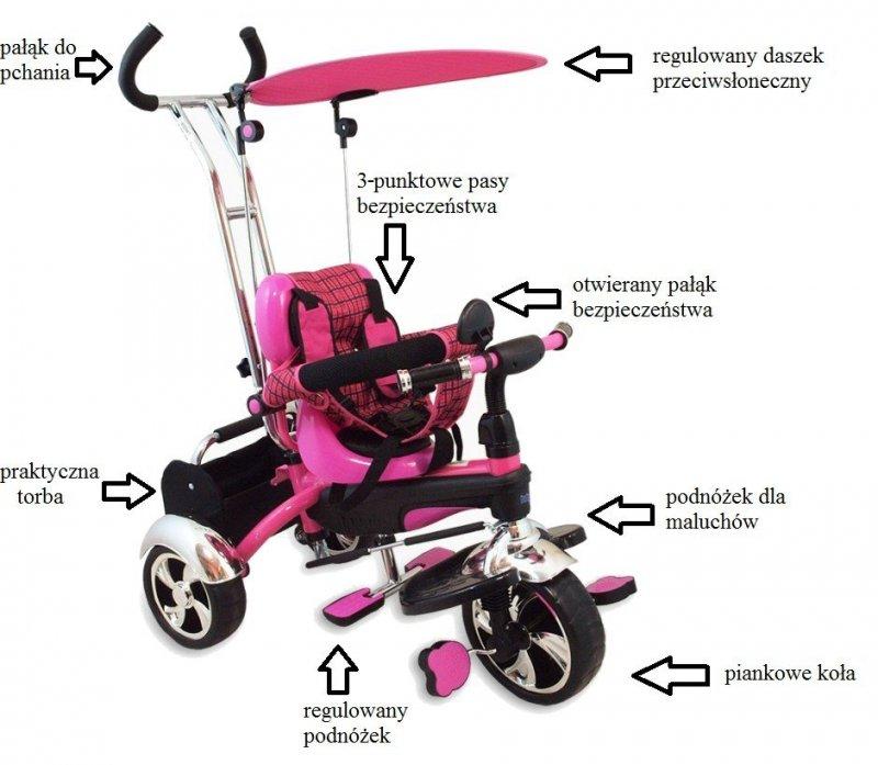 Rowerek trójkołowy SPORT TRIKE różowy  BABY MIX
