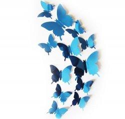 Motyle 3D na sciane 12sztuk z magnesem lustrzane zielone