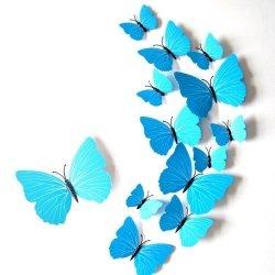 Motyle 3D na sciane 12sztuk z magnesem niebieskie